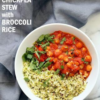 Spanish Chickpea Stew with Cauliflower Broccoli Rice.