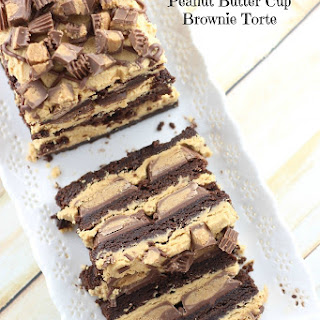 Peanut Butter Cup Brownie Torte.