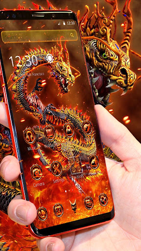 Red Yellow Fire Dragon Theme screenshots 1