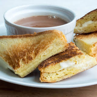 Mascarpone Grilled Cheese Sandwiches with Hot Chocolate Soup.