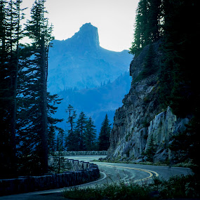Blue road by Andrew Hale - City,  Street & Park  Night ( haze, winding road, park, blue, night, road )