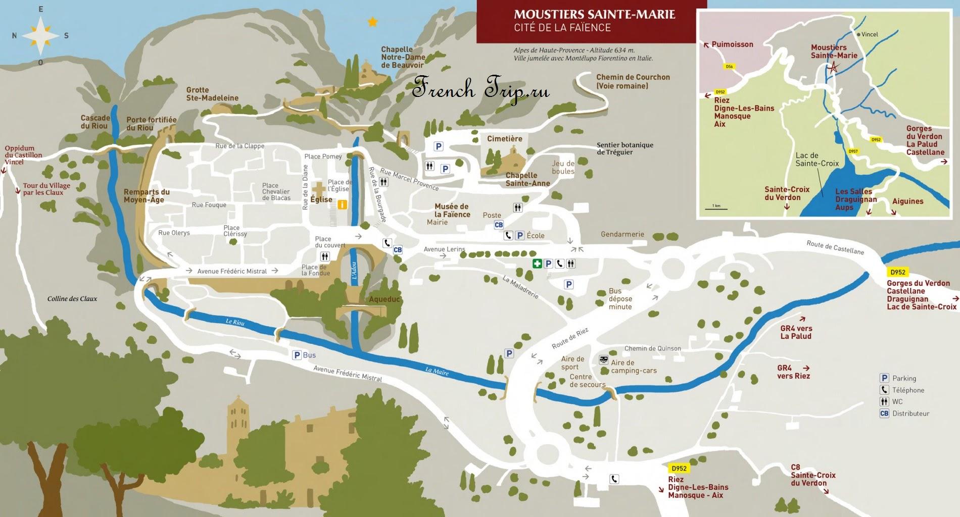 Карта Moustiers-Sainte-Marie (Мустье-Сен-Мари) с отмеченными достопримечательностиями, Прованс, Франция @ frenchtrip.ru