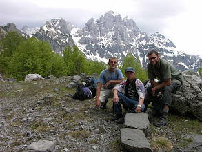Photo: Florian, Zeni (local shepherd) and Mick after crossing the Valbona Pass
