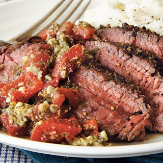 Pepper Steak with Roasted Red Pepper Pesto.
