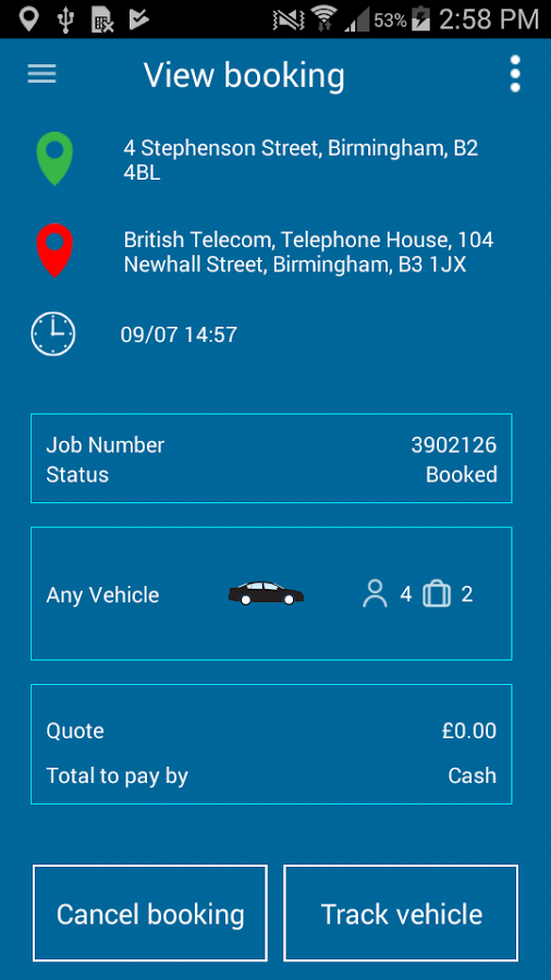 TOA Taxis Birmingham- screenshot