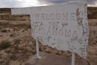 Photo: Entering Oklahoma--looks like it was made in the prison workshop, eh?   That's in McAlester, the place of my birth...