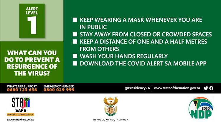 Some of the tips to prevent a resurgence of Covid-19 infections, according to a graphic The Presidency released on Sunday following an address by President Cyril Ramaphosa.