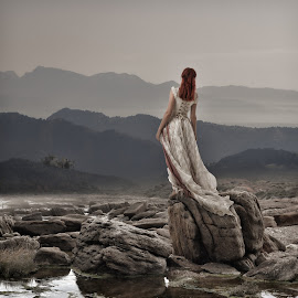 Await by Frank Quax - Digital Art People ( view, rocks, edited, portraits, photoshop, manipulation, people, creative, landscape )