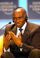 Photo: NEW YORK, 01FEB02 - Abdoulaye Wade, President of Senegal, gestures as he speaks during a session of the 32nd Annual Meeting of the World Economic Forum at the Waldorf-Astoria hotel in New York on February, 1, 2002. Main subject of the meeting was 'Africa's Response'.