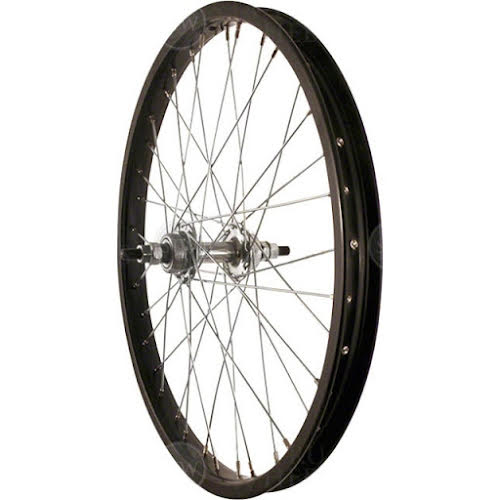 Sta-Tru 20 inch Black Single Speed BMX Hub, Steel Rim with Solid Axle