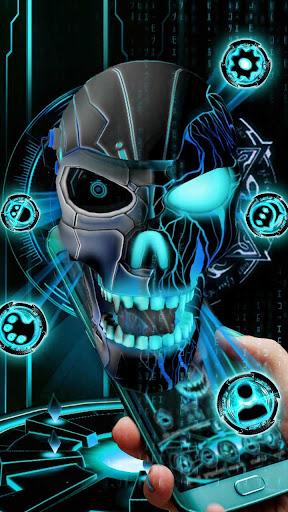 Neon Tech Evil Skull 3D Theme by 3dthemecoollauncher (Google Play