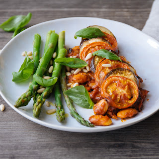 Aubergine, Tomato & Butter Bean Ratatouille With Asparagus