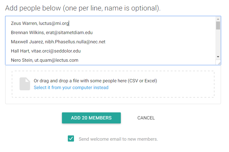 Gaggle Mail bulk add members