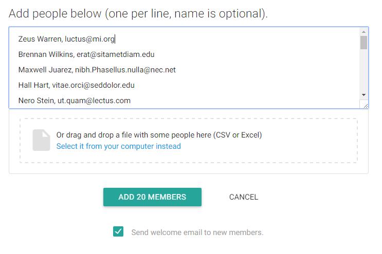 Gaggle Mail bulk add members