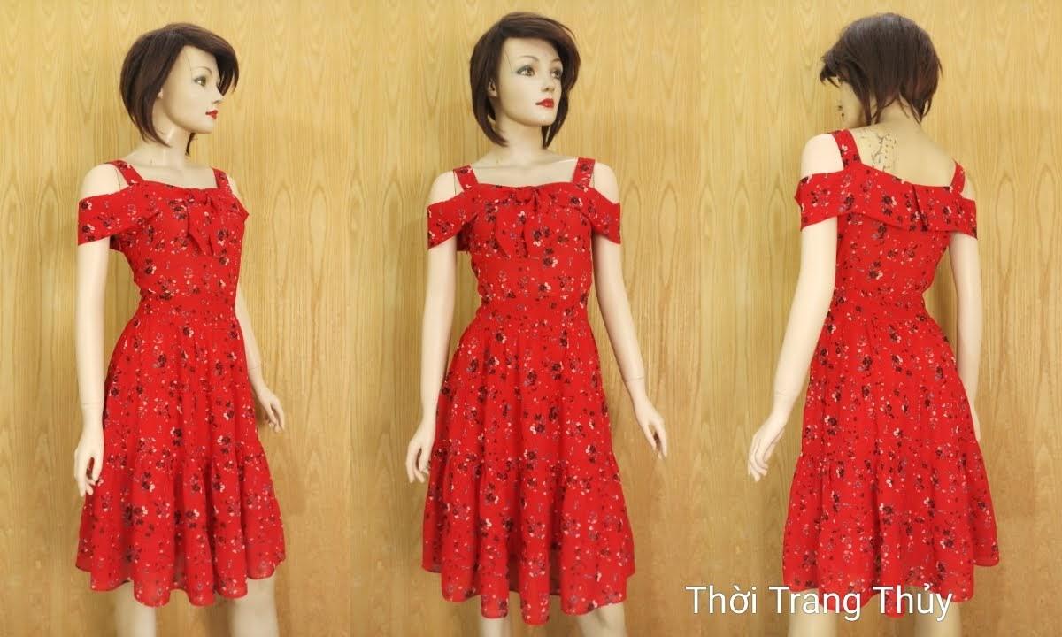 Váy xòe hai dây hở vai hoa nhí màu đỏ V685 thời trang thủy