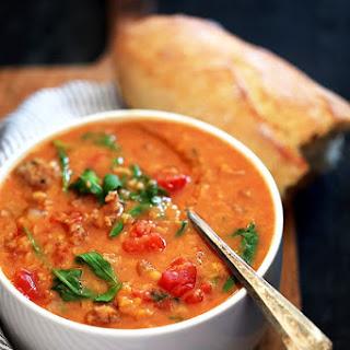 Slow Cooker Sausage Lentil and Arugula Soup.