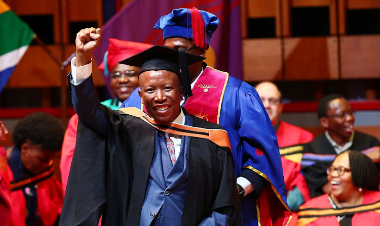 Julius Malema the leader of the EFF smiles after graduating with a BA-Honours Degrees in Philosophy at Unisa. Picture: MASI LOSI