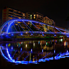 Blue Bridge by Rozaitonisah Razali - Buildings & Architecture Bridges & Suspended Structures ( water, night, bridge, singapore, river )