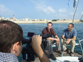 Photo: Interviewing expert on a sailbot off Acre (crusader fortress), Israel.