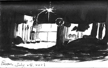 Photo: 牆邊的路燈2011.07.24鋼筆 入夜了,路燈照亮了監獄外牆…
