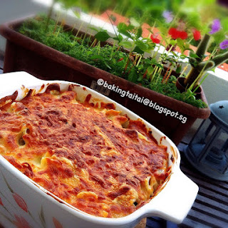 Baked Pasta With Homemade Cream Sauce.