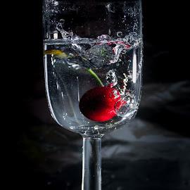 Cherry by Adriano Freire - Food & Drink Fruits & Vegetables ( copo, splash, cereja, escuro, fruta )