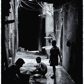 Daily Work by Soumyadip Maity - City,  Street & Park  Street Scenes ( silhouette, kolkata, white, kids, people, bengal, black, portrait, Urban, City, Lifestyle,  )