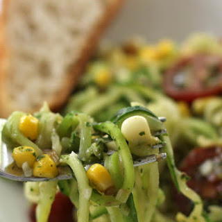 Spiralized Zucchini with Pesto, Tomatoes, and Corn.