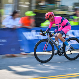 Racing in Pink by Gabor Dosa - Sports & Fitness Cycling ( cyclist, pink, racing, outdoors, bicycle, road race, sports, action, female, sport )