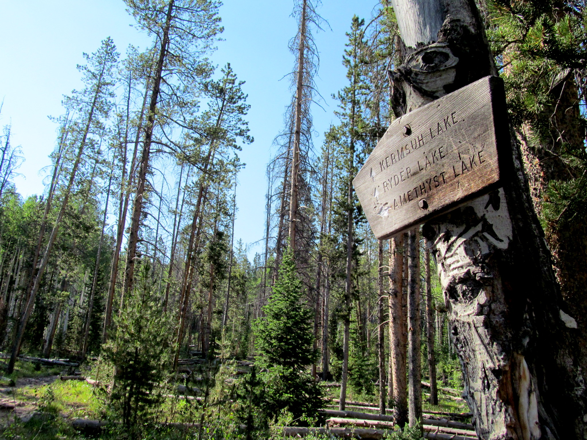 Photo: Sign pointing to Kermsuh, Ryder, and Amethyst lakes