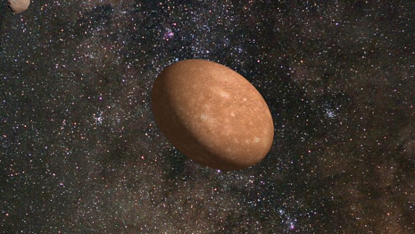 Recreación artística de Varuna y su satélite.