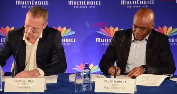MultiChoice SA CEO Calvo Mawela , right, and Naspers CEO Bob van Dijk. Picture: SUPPLIED