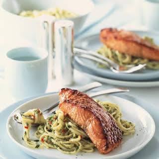 Sesame Salmon with Cilantro Pesto Linguine.