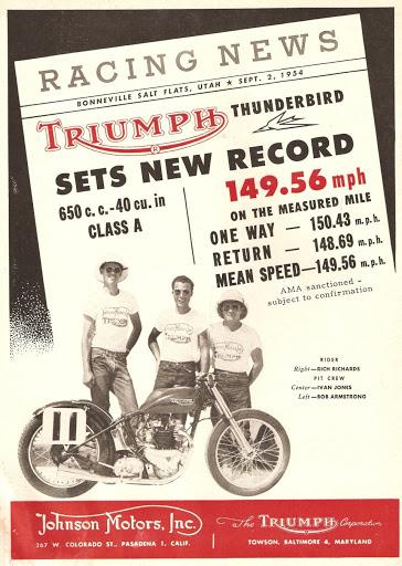 L'affiche officiel du records de 1954 pour Triumph et Rich Richards en classe A.