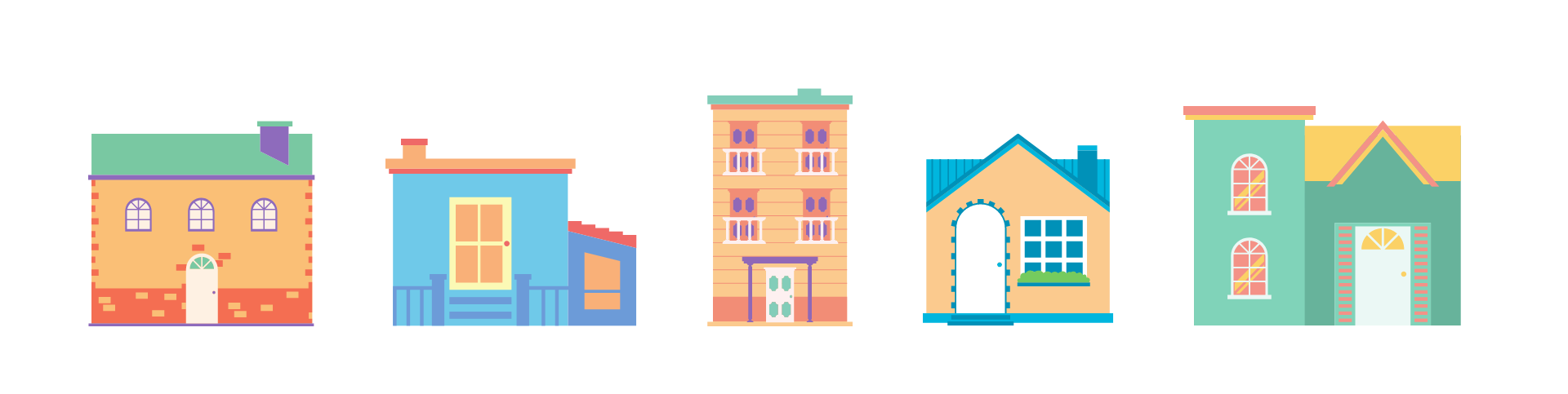 Colorful illustration of five different types of house.