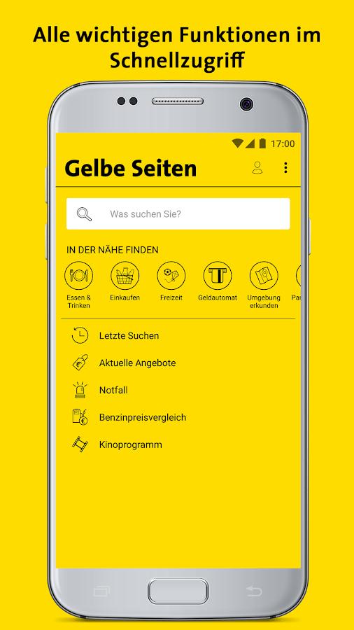gelbe seiten auskunft und mobiles branchenbuch android. Black Bedroom Furniture Sets. Home Design Ideas