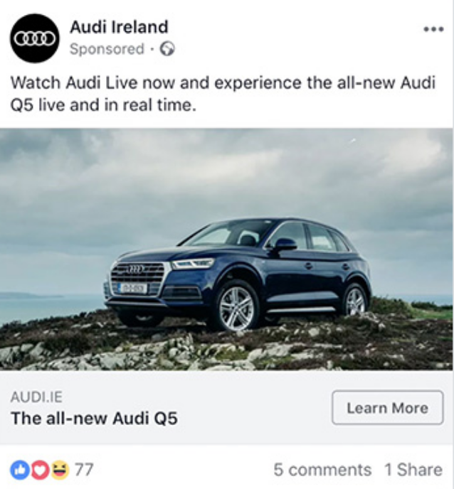 Single image ad from Audi