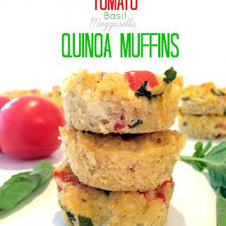 Tomato, Basil and Mozzarella Quinoa Muffins.