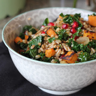 Farro with Roasted Sweet Potato, Kale, and Pomegranate Seeds