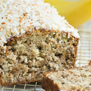 Banana Coconut Crunch Bread with Coconut Cream Icing