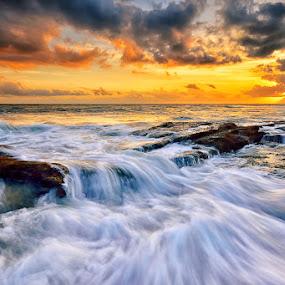 Lima Flow by Hendri Suhandi - Landscapes Sunsets & Sunrises ( bali, waterscape, stone, rock, flow, beach, seascape, sun, lima, nature, sunset, sunrise, flare )