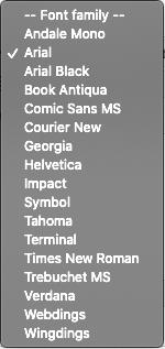 Font choice menu