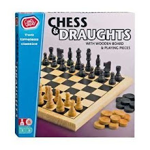 Photo: A modern CV chess/draughts set with wooden pieces and board. This set is still on sale through Argos at £9.99 (or two for £15! cheaper than the above set seen on eBay) - not too bad for an introductory set!  Not of any especial interest - the chessmen again look French in character. At least the CV brand and chess are still together in an age when chess seems to be of less interest to children.