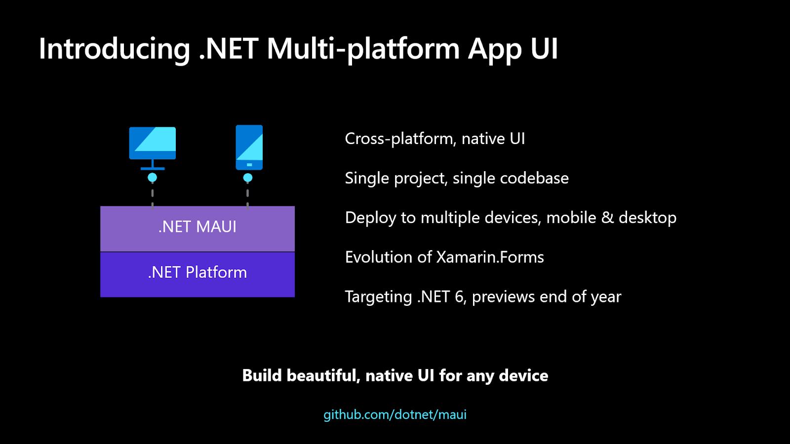 Schéma présentant les avantages de .NET MAUI.