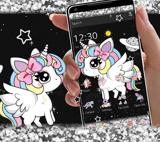 Glitter Galaxy Cute Rainbow Unicorn Theme 1.1.1 screenshots 1