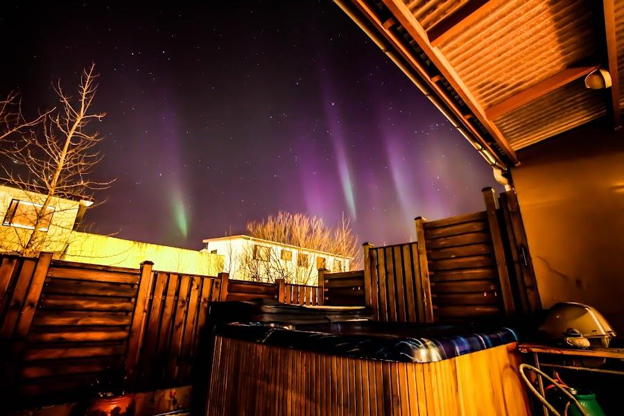 Icelandic back-porch view by Hafsteinn Kröyer Eiðsson - Uncategorized All Uncategorized ( wood, grill, house, keflavik, night shots, shelter, night photography, sky view, nights, pink, light, night sky, light pollution, fence, lndscape, neighbors, iceland, night photo, winter, stars, view, tripod, night shot, night shoot, wall, nightscapes, canon, home, night lights, aurora borealis, nightview, canon eos, lights, nighttime, hot sspa, porch, nightlife, samyang, houses, purple, night scene, green, aurora, star, night time, nightscape, jacuzy, auroras, night view, reykjanes peninsula, night, garden, samyang 10mm )
