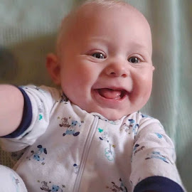 Laughter by Sandy Stevens Krassinger - Babies & Children Children Candids ( dimples, mouth, smiles, tongue, baby, boy, eyes, laughter )