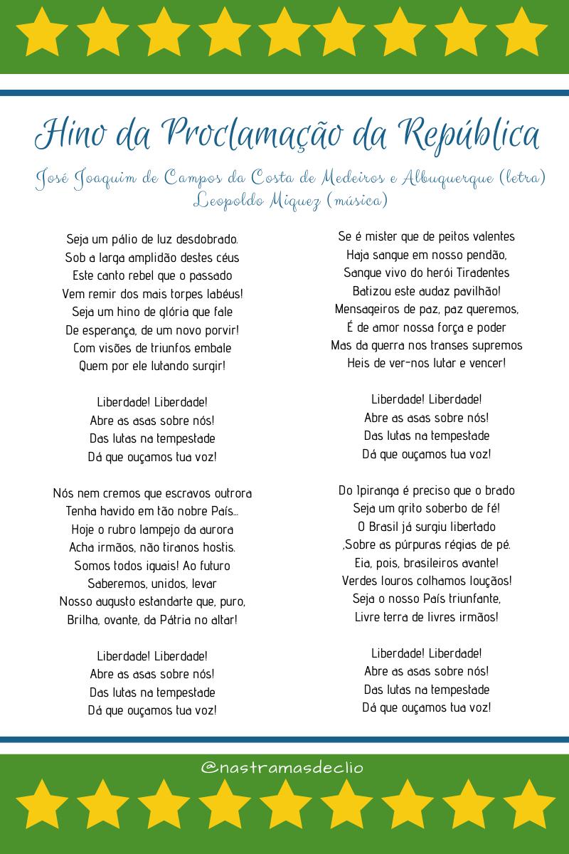 Imagem com a letra do hino da Proclamação da República.