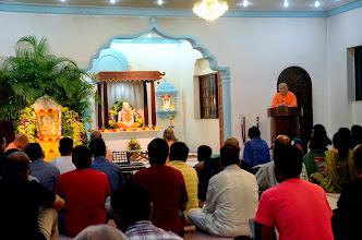 Photo: Swami Satyalokananda speaking on Buddha.