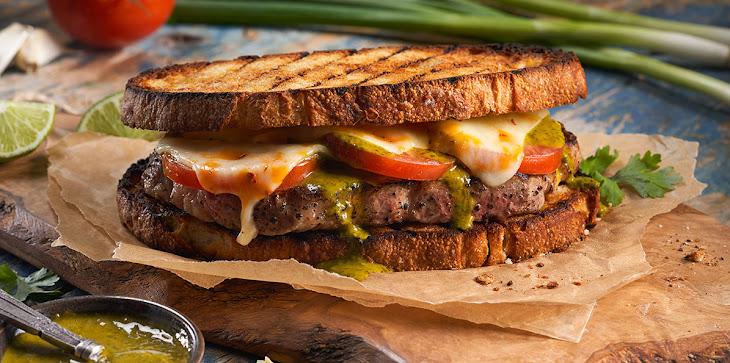 4 Cheese Southwest Steak Sandwich with Cilantro Lime Chimichurri Recipe